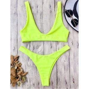 🌻 Zaful Bikini 2 Piece Neon Yellow High Cut Legs